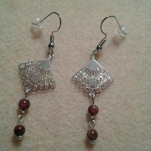 Genuine star ruby birthistone earrings